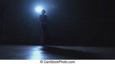 związać, trening, wojownik, pokój, ciemny, skokowy, ...