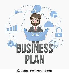 związany, plan, handlowy