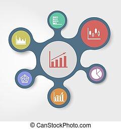 związany, szablony, handlowy, metaballs, infographic