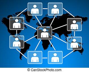 związany, towarzyski, razem, network., wzory, ludzki
