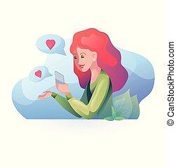 związki, znajomość, mówiąc, haired, nowoczesny, telefon, głoska., dziewczyna, odległość., style., czerwony