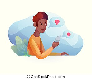 związki, znajomość, mówiąc, nowoczesny, telefon, głoska., afrykanin, odległość., style., człowiek
