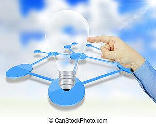 zwiebel, bekommen, licht, idee, geschäftsmann, klicken
