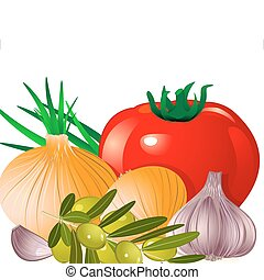 zwiebel, fleischtomaten, knoblauch, olive
