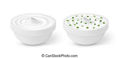 zwiebel, schüssel, freigestellt, sauer, grüner hintergrund, weißes, creme