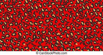 zwierzę, lampart, pattern., seamless, wektor, tło, czerwony, print.