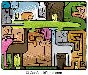 zwierzę, zagadka, (vector)