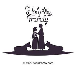 zwierzęta, dziewica, sylwetka, joseph saint, mary