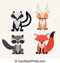 zwierzęta, dziewiczość, komplet, lesisty teren, ikona
