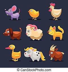 zwierzęta, ilustracja, wektor, zagroda