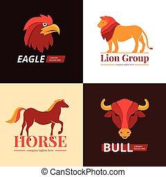 zwierzęta, logo, projektować, 4, płaski, ikony