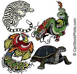 zwierzęta, niebiański, cztery, shui, feng
