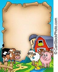 zwierzęta, pergamin, stodoła