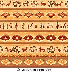 zwierzęta, próbka, plemienny, ozdoba, seamless, aztek, silhouette., materiał