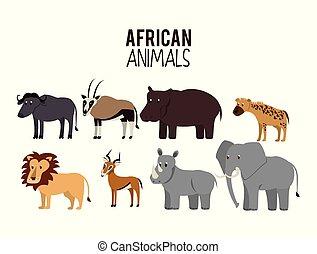 zwierzęta, rysunek, afrykanin