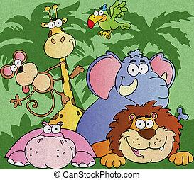 zwierzęta, rysunek, dżungla