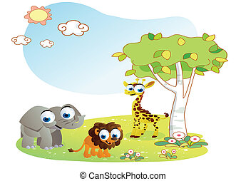 zwierzęta, rysunek, z, ogród