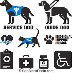 zwierzęta, służba, poparcie, emblematy, emocjonalny, psy