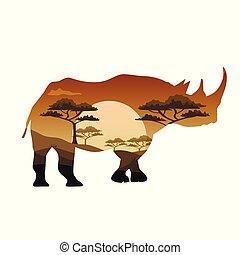 zwierzęta, savannah, afisz, tematy, wektor, afryka, dziki, safari
