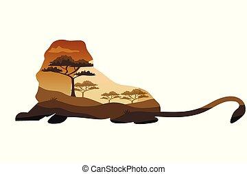 zwierzęta, savannah, polowanie, afisz, przeżycie, tematy, afryka, dziki, safari, dziki