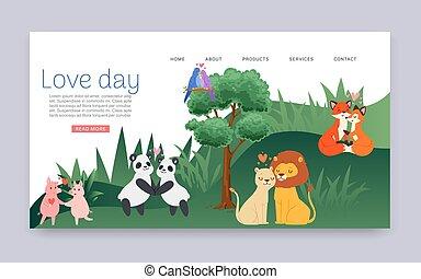 zwijnen, panda, dier, valentines, vector, minnaars, illustration., leeuwen, hartelijk, dag, gehouden van, stellen, liefde, spotprent, datum, vossen, karakters