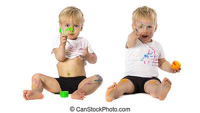 zwillinge, spielende , mit, farbe