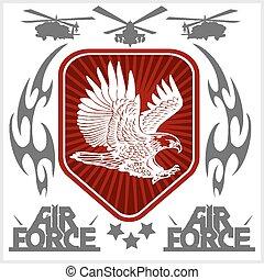 zwingen, illustration., -, uns, luft, vektor, militaer, ...