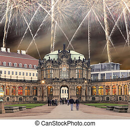 Zwinger Palace (Der Dresdner Zwinger) and holiday fireworks,...