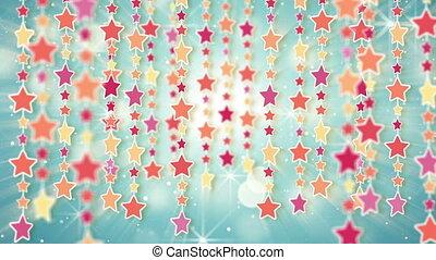 zwisając, barwny, wstecz, gwiazdy, pętla