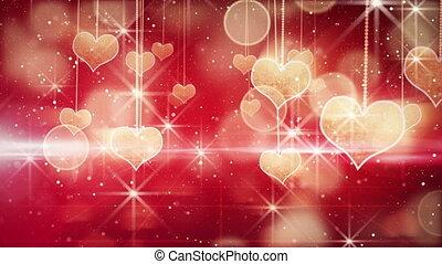 zwisając, serca, smyczki, lustrzany