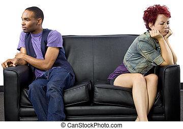 zwischenrassisches ehepaar, kämpfen