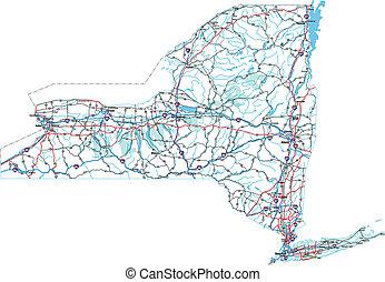 zwischenstaatlich, straße, york, landkarte, neu