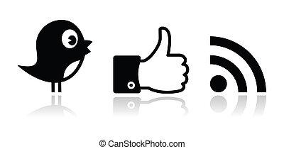 zwitschern, facebook, rss, schwarz, glänzend