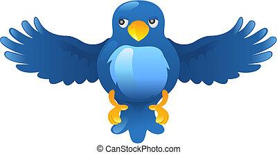zwitschern, ing, blauer vogel, ikone