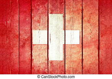 zwitserland, houten, grunge, flag.