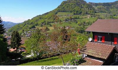 zwitserland, huisen, venster, verhuizing, aanzicht, alpen,...