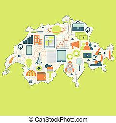 zwitserland, kaart, technologie