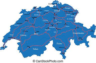 zwitserland, kaart