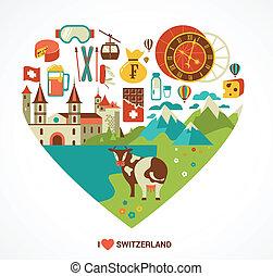 zwitserland, liefde, -, hart, met, vector, iconen