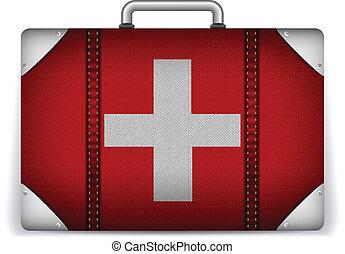 zwitserland, reizen, vlag, vakantie, bagage