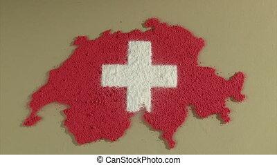 zwitsers, kaart, vlag, timelapse