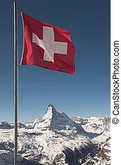 zwitsers, matterhorn, vlag