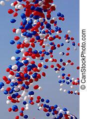 zwolniony, balony, celebrowanie