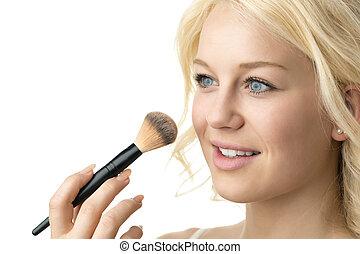 zwracający się, closeup, makijaż