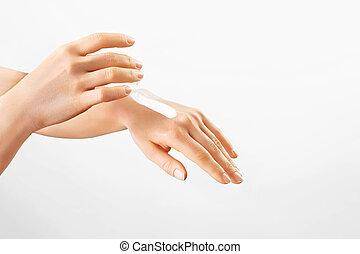 zwracający się, moisturizer, młody, samica, hands., zdrowy, ...