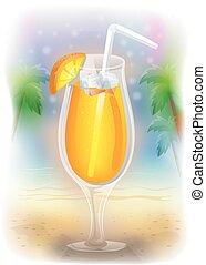 zwrotniki, napój, plaża, barwny, noc