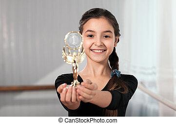 zwycięstwo, danser dziewczyny, widać, filiżanka