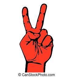 zwycięstwo, symbol, ręka, wektor, projektować, zwycięstwo, v...