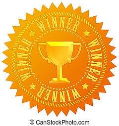 zwycięzca, medal, złoty