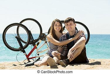 zwykły, para, bicycles, młody
